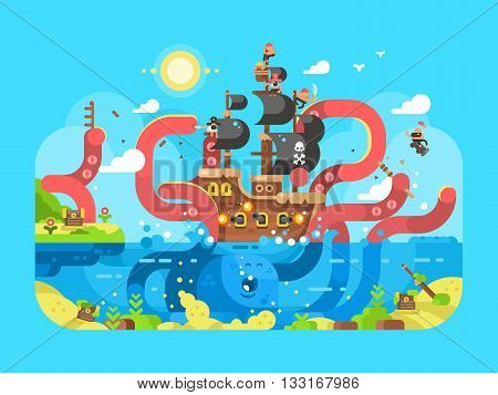 Kraken ship sinks design flat. Ocean squid and monster octopus, vector illustration