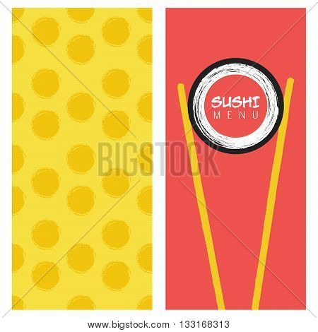 Japanese cuisine restaurant sushi menu cover. Template for restaurant, cafe, delivery or your business works.
