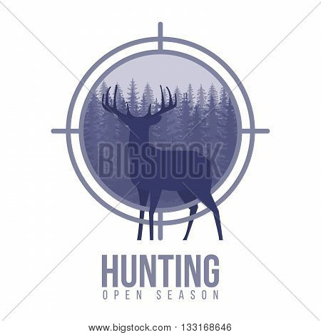 Silhouette of deer in a target with pine forest, blue and white colors background, vector illustration
