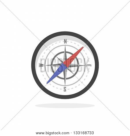 Vintage brass travel compass isolated geography east direction travel vector illustration. Cartography and navigation icon