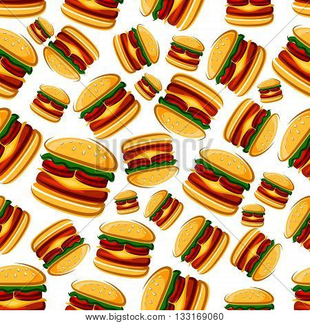 Burger sandwiches background for cafe interior or menu design with cartoon seamless pattern of fast food cheeseburgers with beef and tomatoes, lettuce and melted cheese