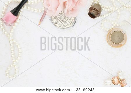 Feminine beauty background - view from above