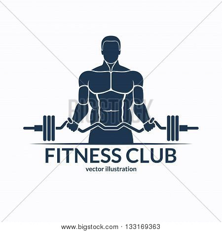 Fitness logo. An athlete with a barbell. Gym, bodybuilding, weightlifting, sports, training monochrome emblem, label, badge, sign, symbol. Vector illustration