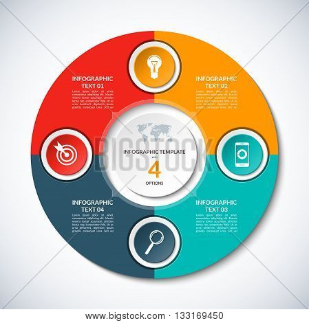 Vector infographic circle template with 4 options, steps, parts, segments. Banner for business infographics, cycling diagram, round chart, pie chart, graph, presentation, annual report, web design