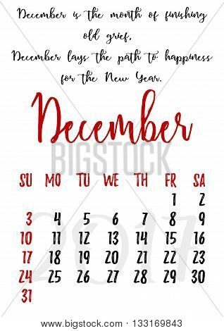 Calendar design grid in hand written style with russian proverbs adages and saying and dates of winter month December 2017. Vector illustration