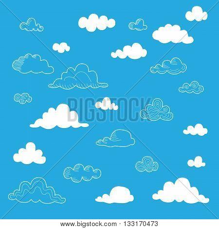 Set of blue sky clouds. Cloud shape. Doodle vector clouds.