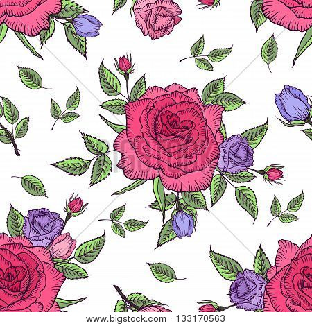 Seamless pattern vintage rose. Flower pattern of roses. Vintage floral background. Vector rose pattern design for card, womens day, mothers day, wedding, birthday, textile, web, wallpaper