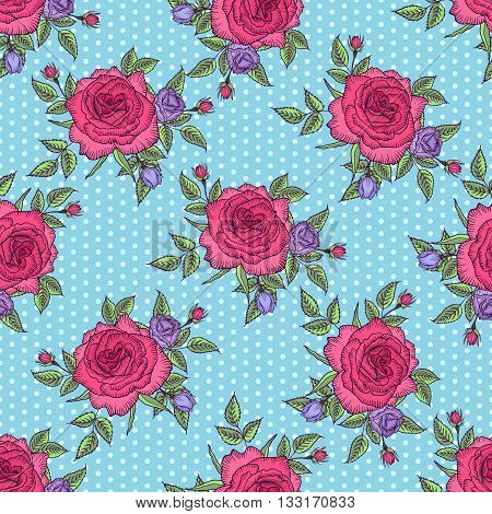 Seamless floral pattern rose on blue background with polka dots, pink rose background, flower pattern, vector illustration by card, mothers day, wedding, birthday, textile, web, wallpaper, card