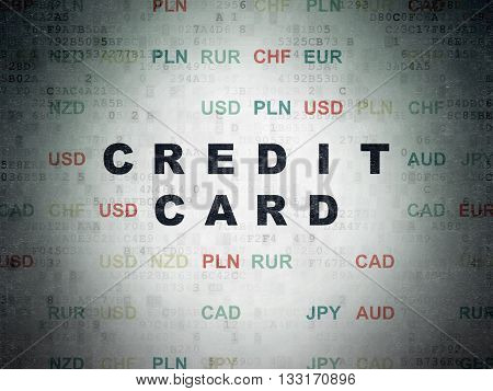 Banking concept: Painted black text Credit Card on Digital Data Paper background with Currency