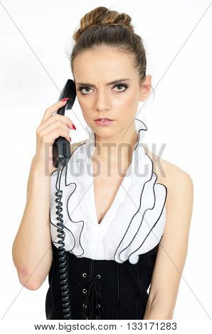 Serious Girl With Phone