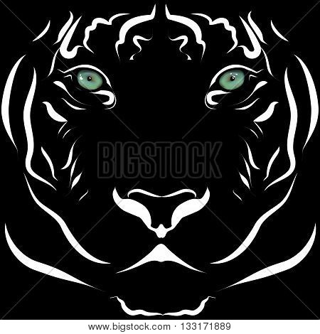 Realistic tiger head image black and white with lively eyes. In a cartoon manner.