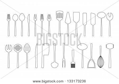 Set of cutlery outlines on white background, vector illustration