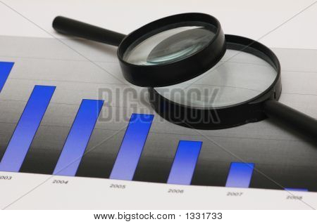 Studying Business Opportunities - Magnifying Glasses Over The Bar Charts