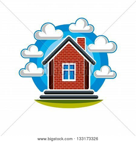 Simple house vector illustration countryside idea. Abstract image of a building over beautiful landscape with blue sky and fluffy clouds.