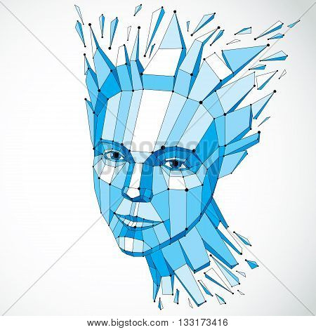 Smart person and mind concept human head exploding and breaks into multiple fractures.3d vector illustration of thoughtful woman face created in low poly modernized style and with lines mesh