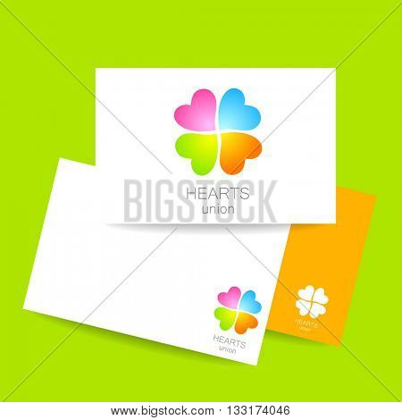Heart union logo template. Identity presentation.  Quarterfoil of colored hearts. Idea for corporate, media, technology, style template vector logo design. Vector illustration.