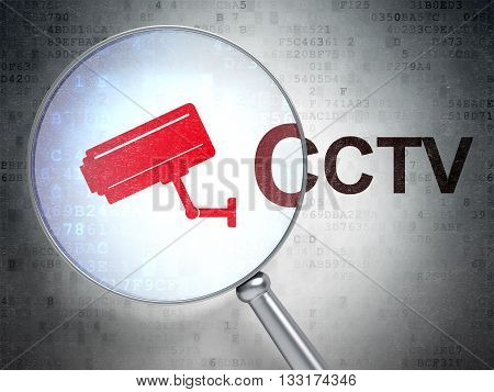 Safety concept: magnifying optical glass with Cctv Camera icon and CCTV word on digital background, 3D rendering