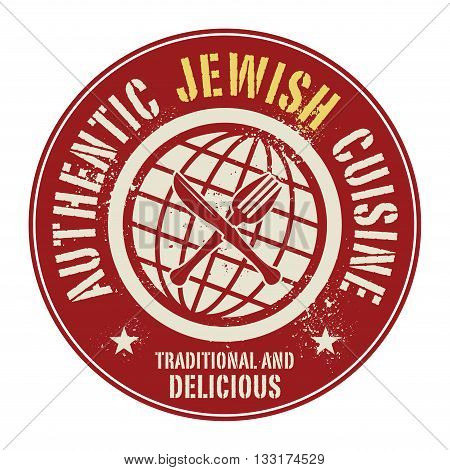 Abstract stamp or label with the text Authentic Jewish Cuisine written inside, vector illustration