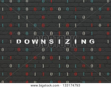 Finance concept: Painted white text Downsizing on Black Brick wall background with Binary Code