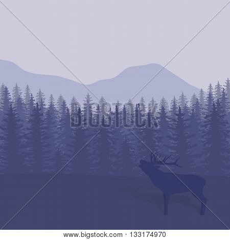 Vector illustration with trees and deer silhouettes.