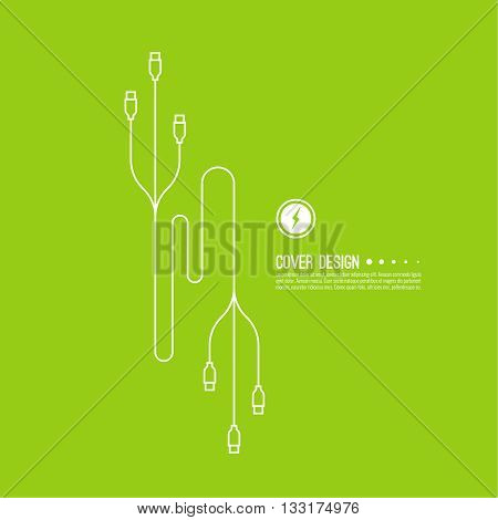 Abstract background with usb cable. Vector. The concept of connection of electronic devices. Charging via USB.