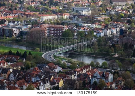 City Hamelin from aerial viewpoint, Germany .