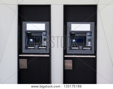 Row of Cash Machine Atm for withdrawing Money