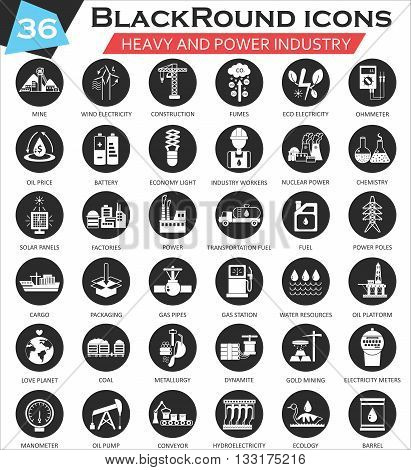 Vector Heavy and power industry circle white black icon set. Ultra modern icon design for web