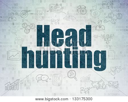 Business concept: Painted blue text Head Hunting on Digital Data Paper background with  Scheme Of Hand Drawn Business Icons