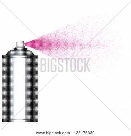 bubble spray can spraying pink bubbles over white