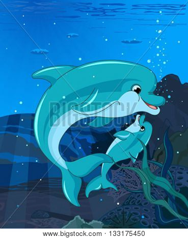Swimming Dolphins on ocean background