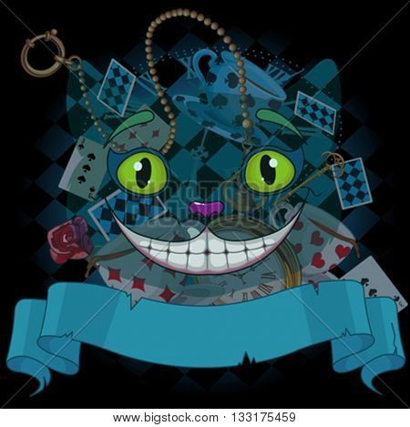 Design of Cheshire cat on wonderland background