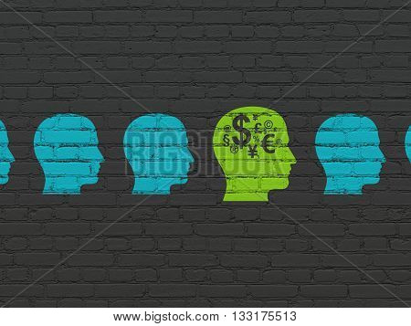 Business concept: row of Painted blue head icons around green head with finance symbol icon on Black Brick wall background