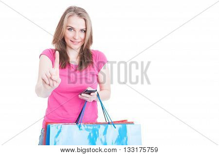 Wait A Minute Concept With Happy Shopaholic Working On Cellphone