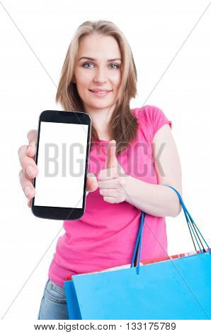 Young Shopaholic Holding Phone With Empty Screen And Showing Thumbup