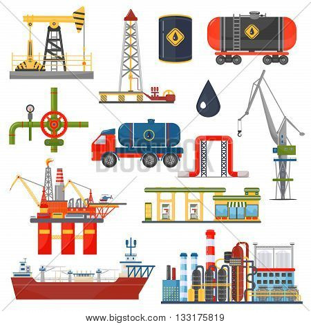 Oil gas industry infographics concept. Gasoline diesel fuel transportation and distribution icons
