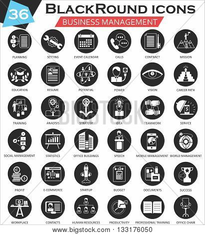 Vector Business management circle white black icon set. Ultra modern icon design for web