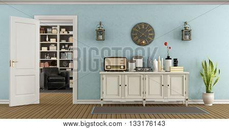 Retro Living Room With Sideboard And Open Door