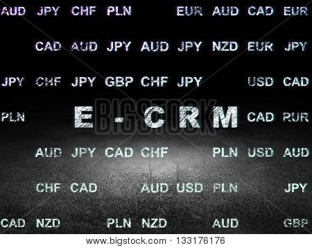 Finance concept: Glowing text E-CRM in grunge dark room with Dirty Floor, black background with Currency