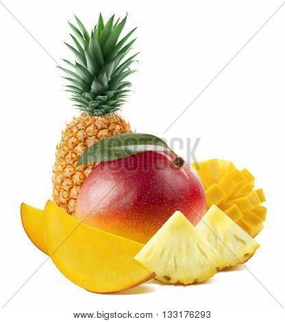 Mango fruit pineapple vertical stand isolated on white background as package design element