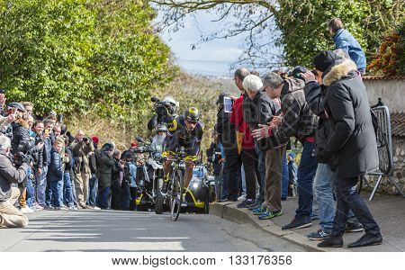 Conflans-Sainte-Honorine,France-March 6,2016: The French cyclist Sylvain Chavanel of Direct Energie Team riding during the prologue stage of Paris-Nice 2016.
