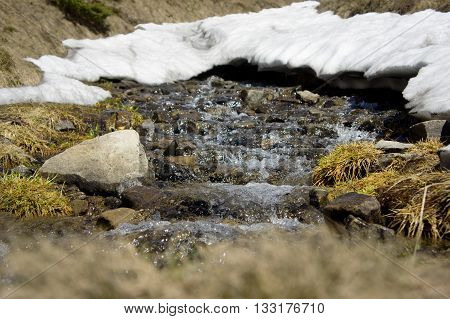 A mountain stream at sunset in the mountains