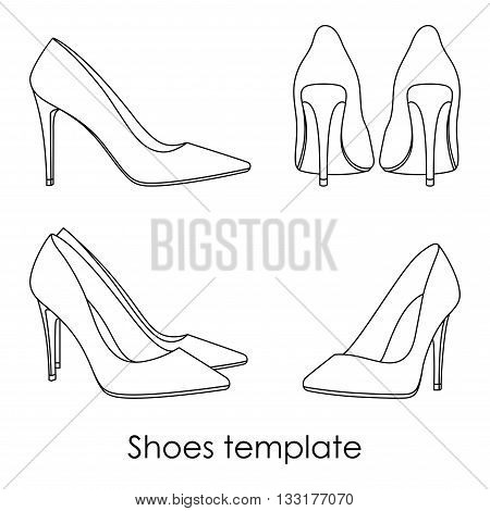Vector female isolated shoes line template model i