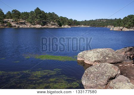 Landscapes of the Lake Arareco in the highlands of Copper Canyons in Chihuahua Mexico