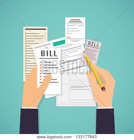 Paying Bills. Hands Holding Bills And Pencil. Payment Of Utility, Bank, Restaurant And Other Bills.