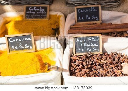 Spices for sale at a French market
