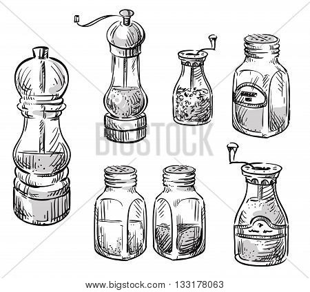 Salt and pepper shakers. Spice containers. Set of vector hand drawn illustrations