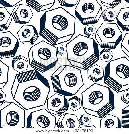 Seamless vector pattern with 3d industrial nuts for use with bolts