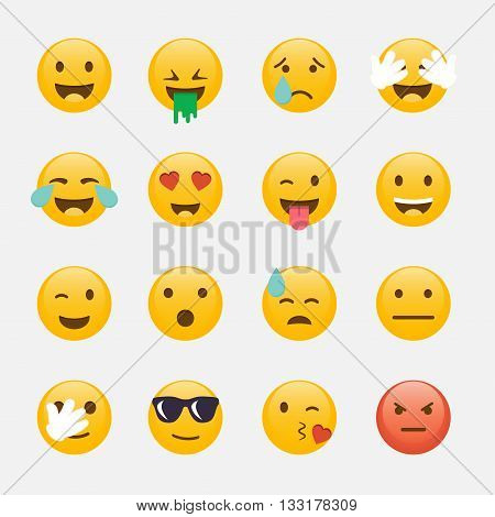 Set Of Emoticons. Emoji Flat Design, Avatar Design. Vector Illustration Isolated On White Background