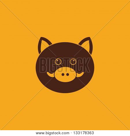 abstract cute wild pig face on a yellow background